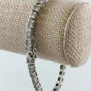 SOLID .925 sterling silver Quartz tennis bracelet